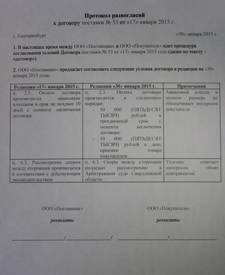 возражения на протокол разногласий к договору образец - фото 9