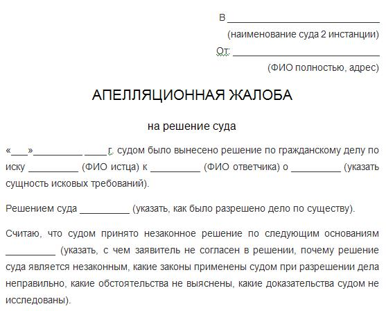 Апелляционная жалоба в областной суд на решение районного суда образец