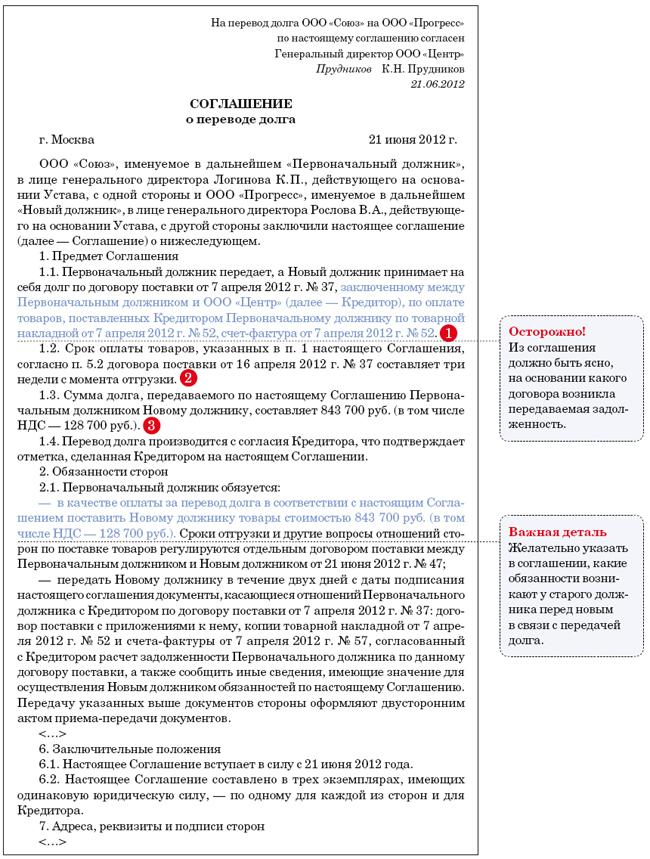 уведомление о переводе долга образец письма